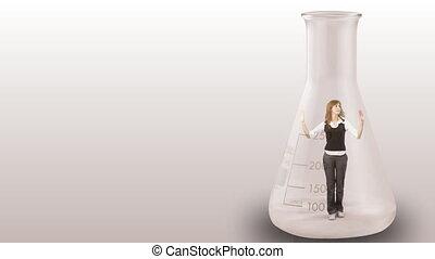 kobieta interesu, butelka, wetknięty