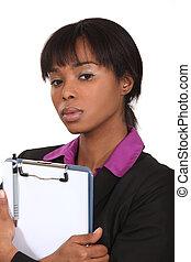 kobieta interesu, clipboard., czarnoskóry