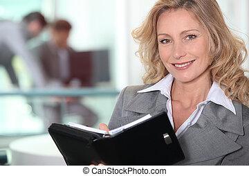 kobieta interesu, dojrzały, zaufany