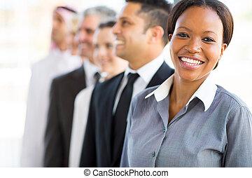 kobieta interesu, drużyna, młody, handlowy, afrykanin