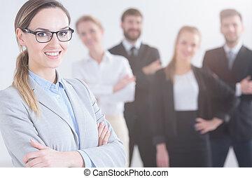 kobieta interesu, i, jej, koledzy