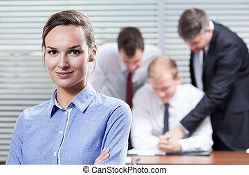 kobieta interesu, i, jej, współpracowniczki
