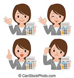kobieta interesu, kalkulator