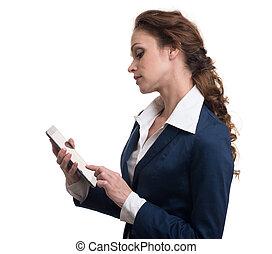 kobieta interesu, komputer, tabliczka, używając
