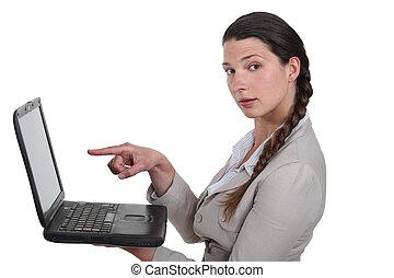 kobieta interesu, laptop, czysty