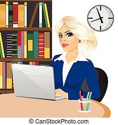 kobieta interesu, laptop, pracujący