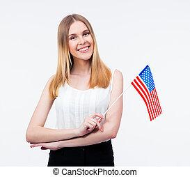 kobieta interesu, młody, na bandera, dzierżawa, szczęśliwy