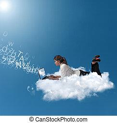 kobieta interesu, na, chmura