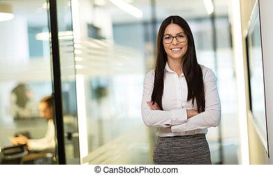 kobieta interesu, na, miejsce pracy, biuro
