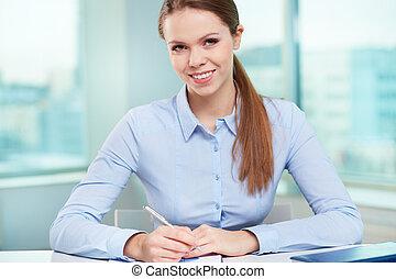kobieta interesu, na, miejsce pracy