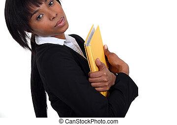 kobieta interesu, notatnik, dzierżawa