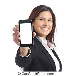 kobieta interesu, pokaz, telefon, okienko osłaniają, mądry