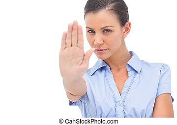 kobieta interesu, pokaz, zatrzymywać, z, ręka