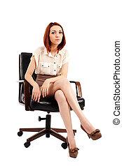 kobieta interesu, posiedzenie w krześle