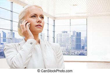 kobieta interesu, powołanie, na, smartphone
