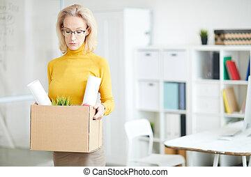kobieta interesu, praca, dojrzały, odejście