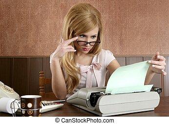 kobieta interesu, sekretarka, retro, biuro, rocznik wina