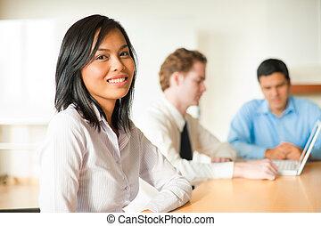 kobieta interesu, spotkanie, pociągający, asian