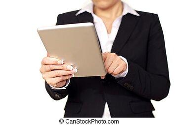 kobieta interesu, tabliczka, cyfrowy