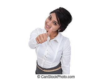 kobieta interesu, uśmiechanie się, pokaz, kciuk