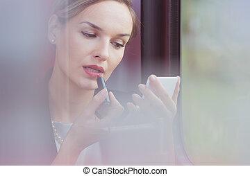 kobieta interesu, ulepszając, jej, kompensować