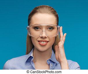 kobieta interesu, w, ochronne okulary