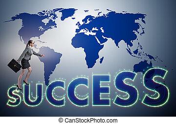 kobieta interesu, w, powodzenie, handlowe pojęcie