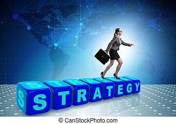 kobieta interesu, w, strategia, handlowe pojęcie