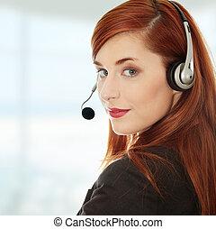 kobieta interesu, z, headset.