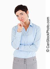 kobieta interesu, z, jej, ręka dalejże, jej, podbródek