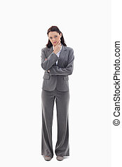 kobieta interesu, z, przedimek określony przed rzeczownikami, ręka dalejże, jej, podbródek
