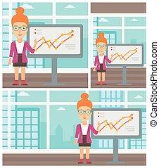 kobieta interesu, zrobienie, handlowy, presentation.