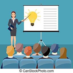 kobieta interesu, zrobienie, prezentacja