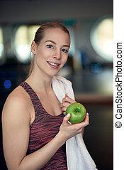kobieta, jabłko, atleta, młody, pociągający, dzierżawa