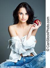 kobieta, jabłko, młody, sexy, świeży, czerwony