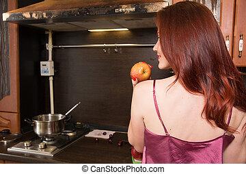 kobieta, jabłko, tło, dzierżawa, wewnętrzny, czerwony, kuchnia