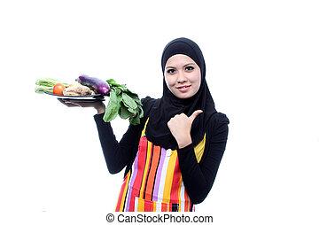 kobieta, jadło, świeży, muslim, młody, concept., wegetarianin, dieting, vegetables., piękny, biały