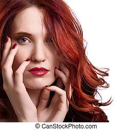 kobieta, jasny, makijaż, młody, twarz, piękny