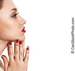 kobieta, jasny, piękno, tło, portret, manicure, czerwony ...