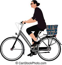 kobieta, jeżdżenie na rowerze