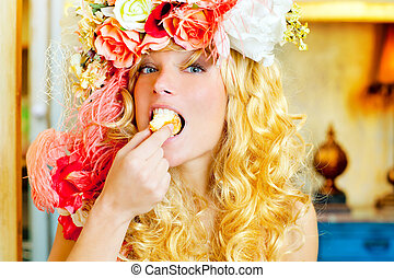 kobieta jedzenie, dona, fason, blondynka, barok
