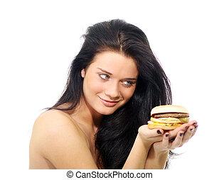 kobieta jedzenie, hamburger