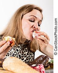 kobieta jedzenie, po, młody, dieta, cupcakes, przyjemność
