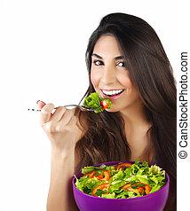 kobieta jedzenie, sałata