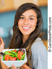 kobieta jedzenie, sałata, zdrowy