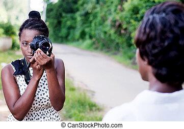 kobieta, jej, fotografia, wpływy, młody, girlfriend.