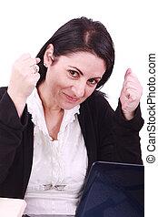 kobieta, jej, handlowy, laptop, frontowe biuro, szczęśliwy