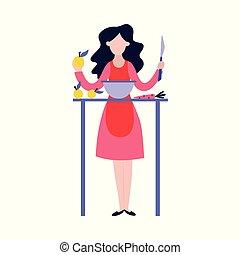 kobieta, jej, jadło, gotowanie, młody, zachwycający, blog., mąka