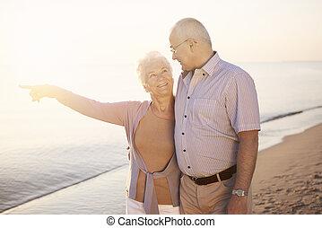 kobieta, jej, ku, palec, morze, senior