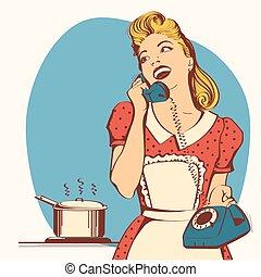 kobieta, jej, mówiąc, kolor, młody, ilustracja, kitchen.vector, telefon, retro